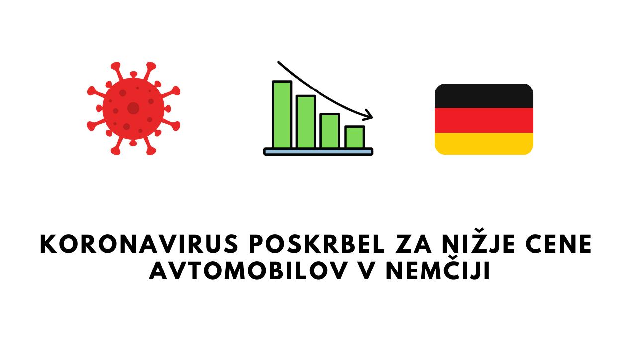 Koronavirus poskrbel za nižje cene avtomobilov v Nemčiji!