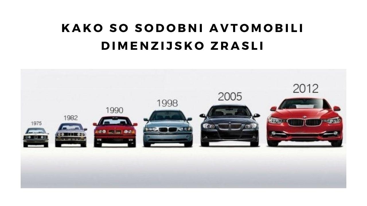 Kako so sodobni avtomobili dimenzijsko zrasli